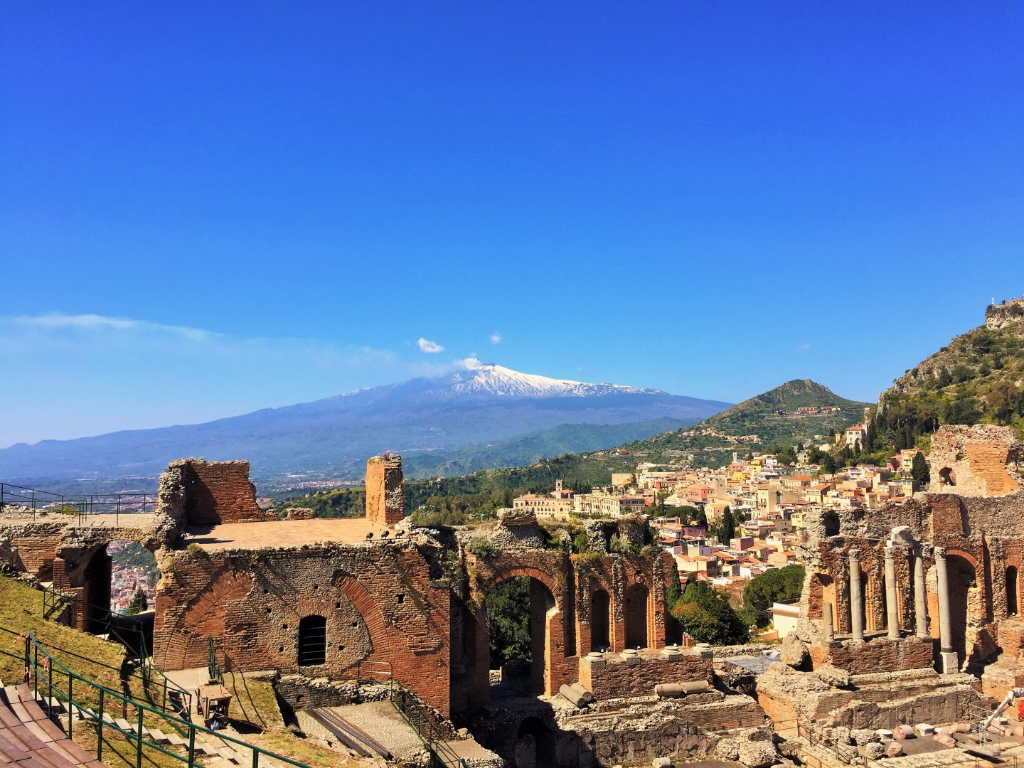 Taormina Greek amphitheatre with Mt Etna in the background, Sicily road trip