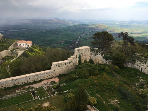 The view from Castello di Lombardia, Enna, Sicily with kids
