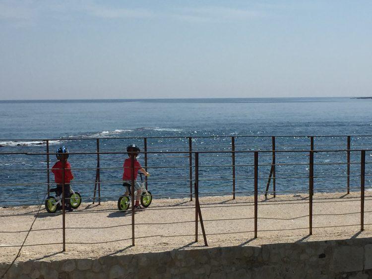 Sicily with kids, balance bikes