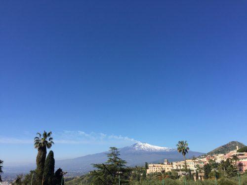 Mt Etna, viewed from Taormina, Sicily family holiday