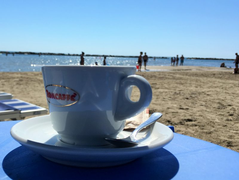 coffee on the beach in italy