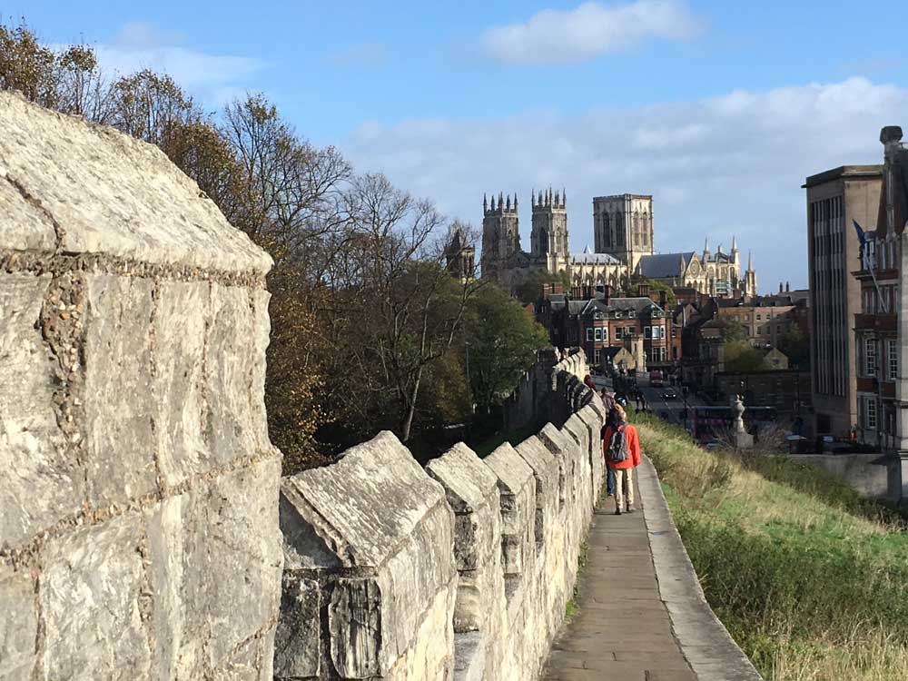 city walls of york with york minster in the background