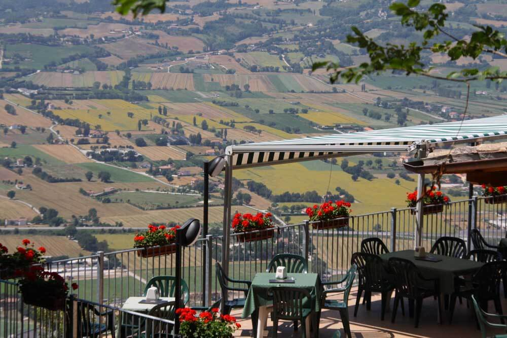 Restaurant with countryside view in Umbria Italy