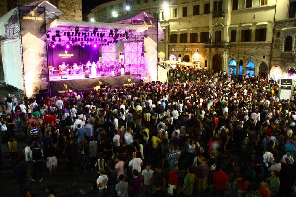Crowd of people at Umbria Jazz in Perugia