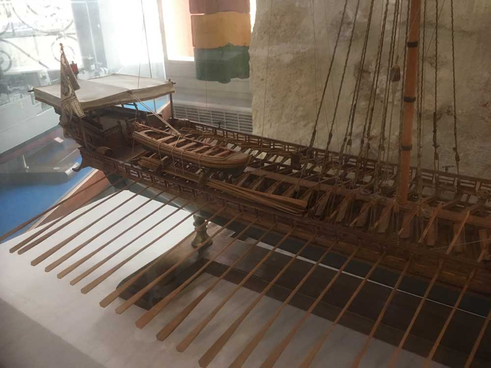 model boat at the Chania maritime museum in Crete Greece