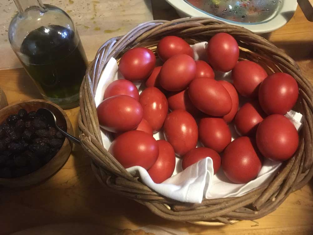 red dyed hard boiled Easter eggs in Crete
