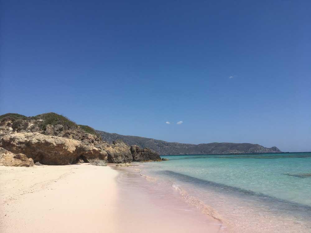 pink tinged beach of Elafonisi western crete greece