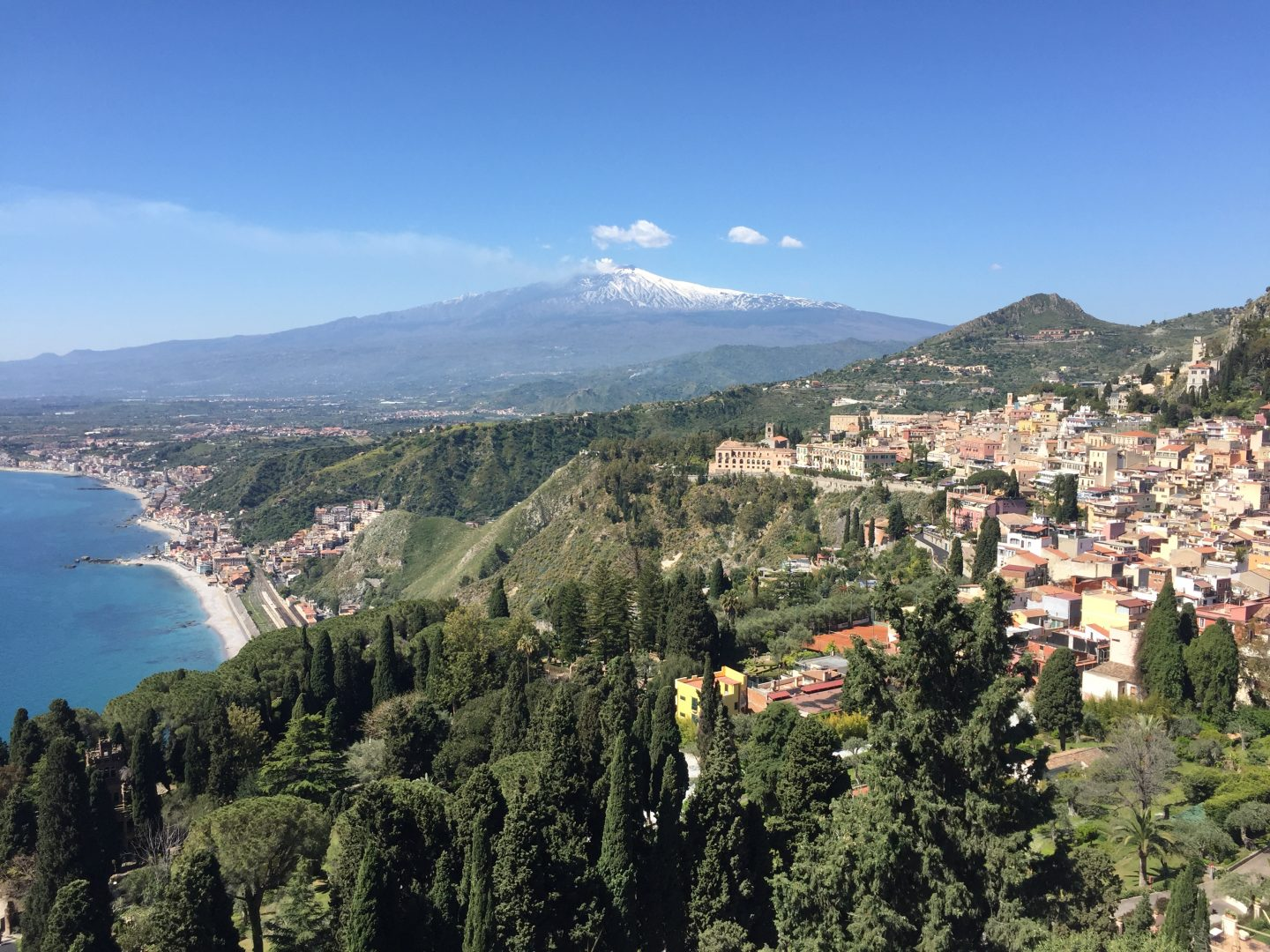 View from Taormina beaches of Sicily