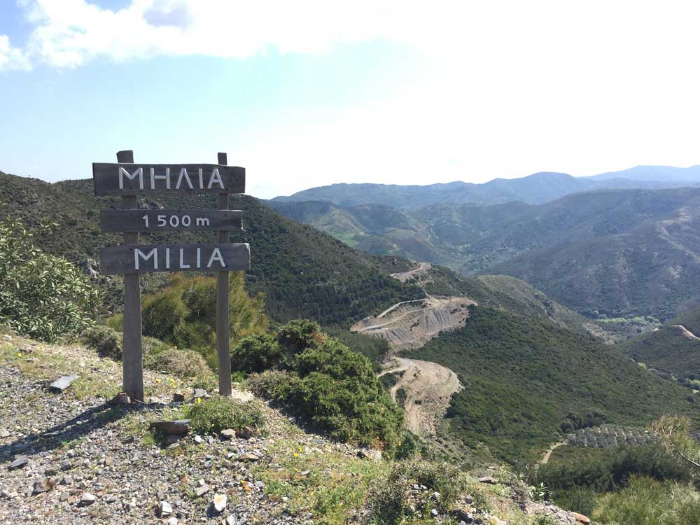signpost at top of mountain road in crete Greece