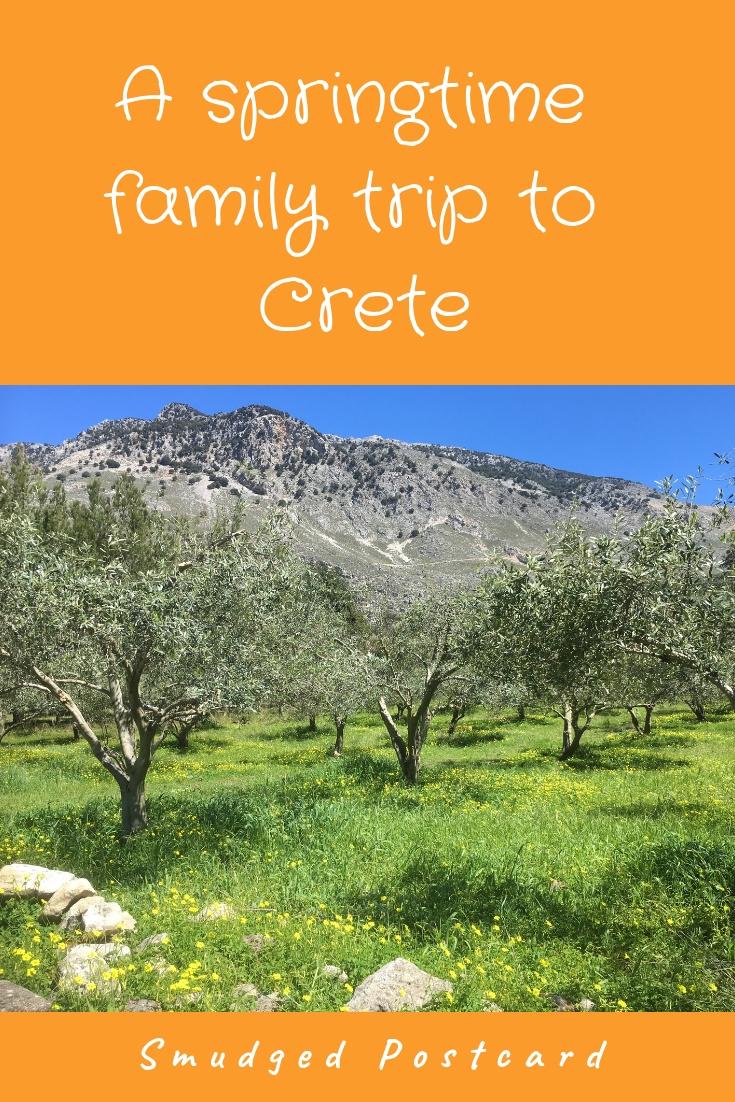 springtime trip to crete smudged postcard