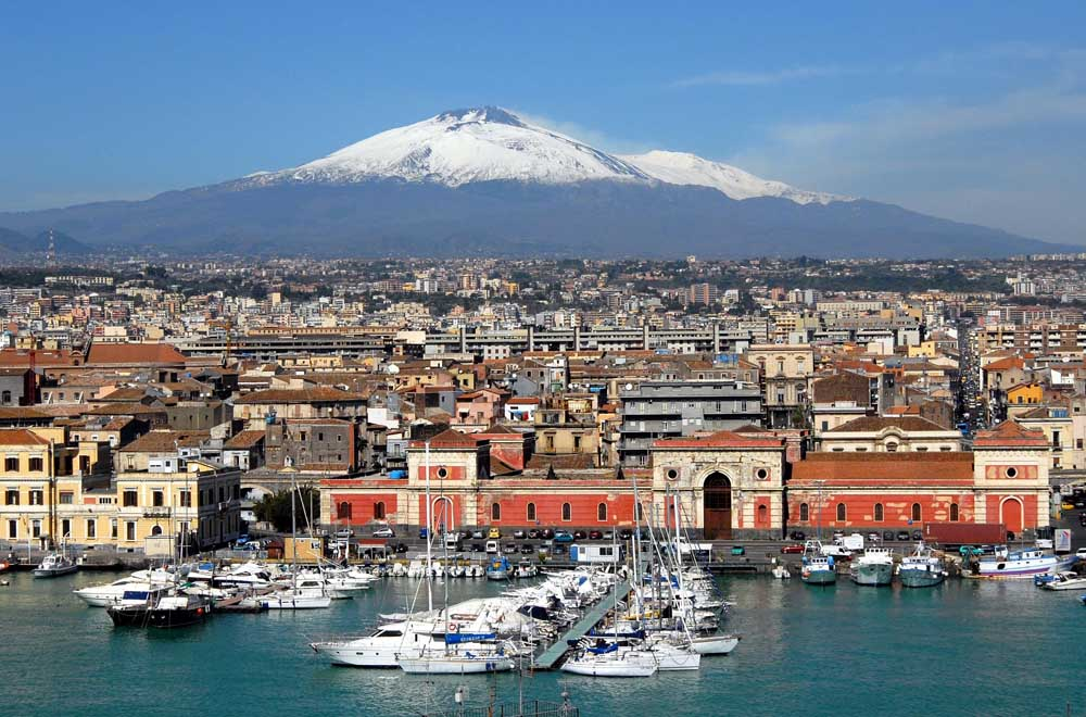 Port of Catania with Mt Etna in background