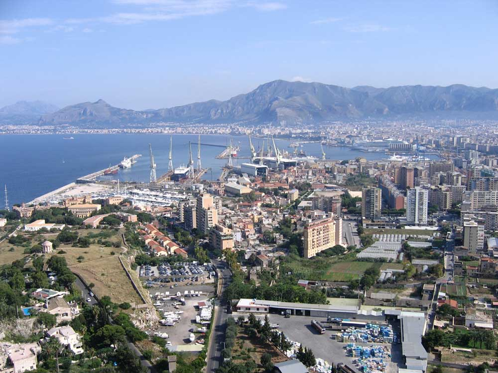 Palermo port with mountains
