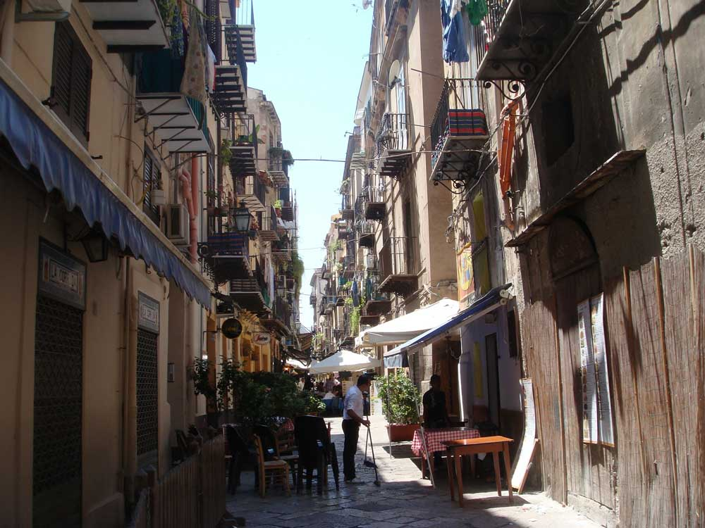 Narrow street in Palermo Sicily