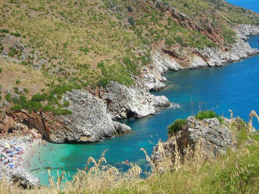 Beach and rocky coastline at Zingaro Nature Reserve Sicily