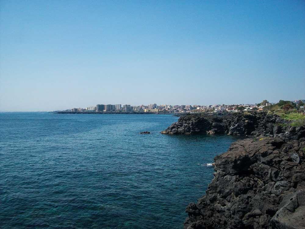 volcanic rocky coastline in Sicily