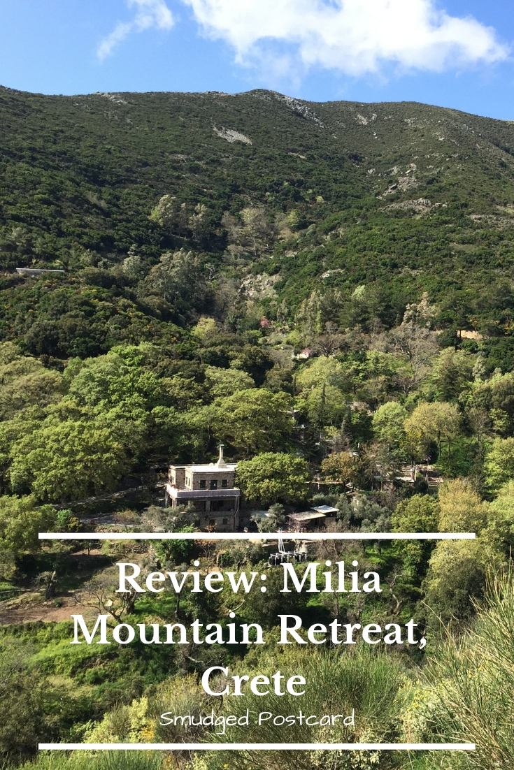 milia mountain retreat crete smudged postcard