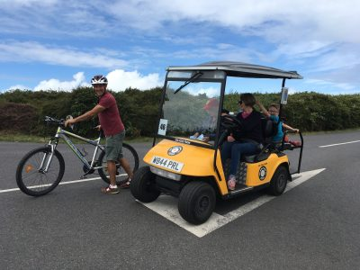 bikes and golf buggies isles of scilly with kids