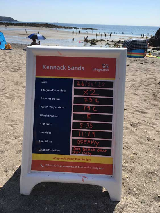 information board at the beach, Kennack Sands, Lizard Peninsula, Cornwall