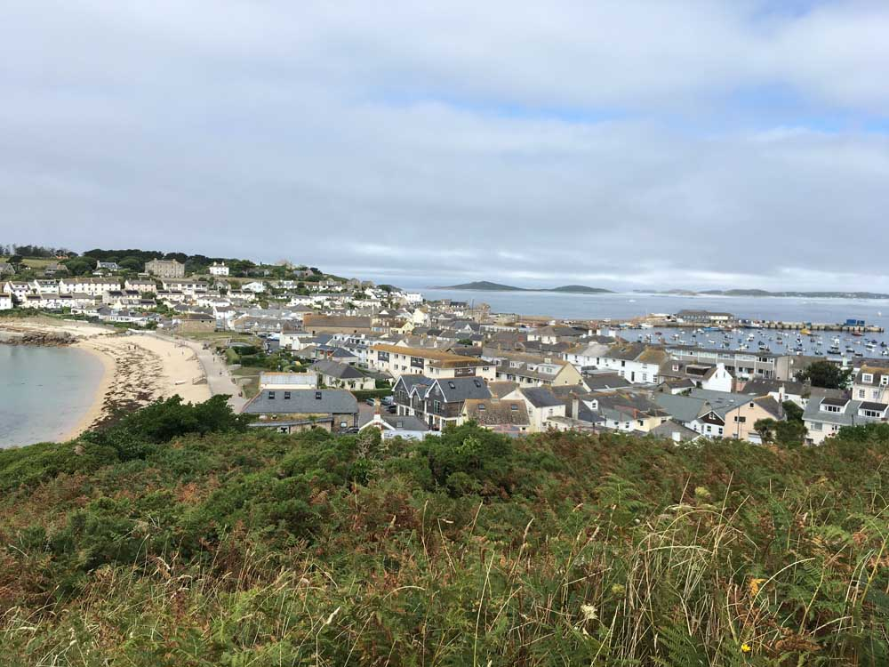 view of island town in the scilly isles