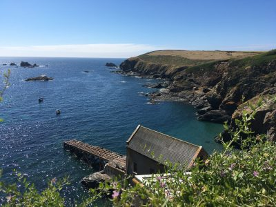 Looking towards the old life boat station at Lizard Point Cornwall