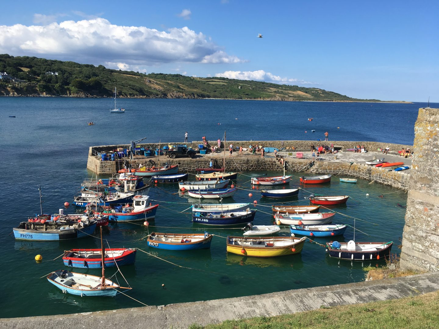 Fishing boats at Coverack Lizard Peninsula Cornwall