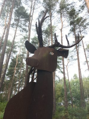 Stag at Broxbourne Woods Sculpture Trail