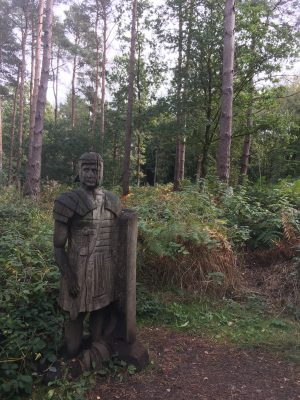 A soldier guards the Broxbourne Woods Sculpture Trail