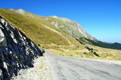 road in the sibillini mountains italy
