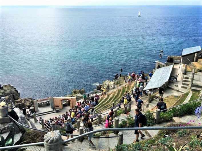 view of the Atlantic Ocean from the Minack Theatre, Cornwall outdoor theatre