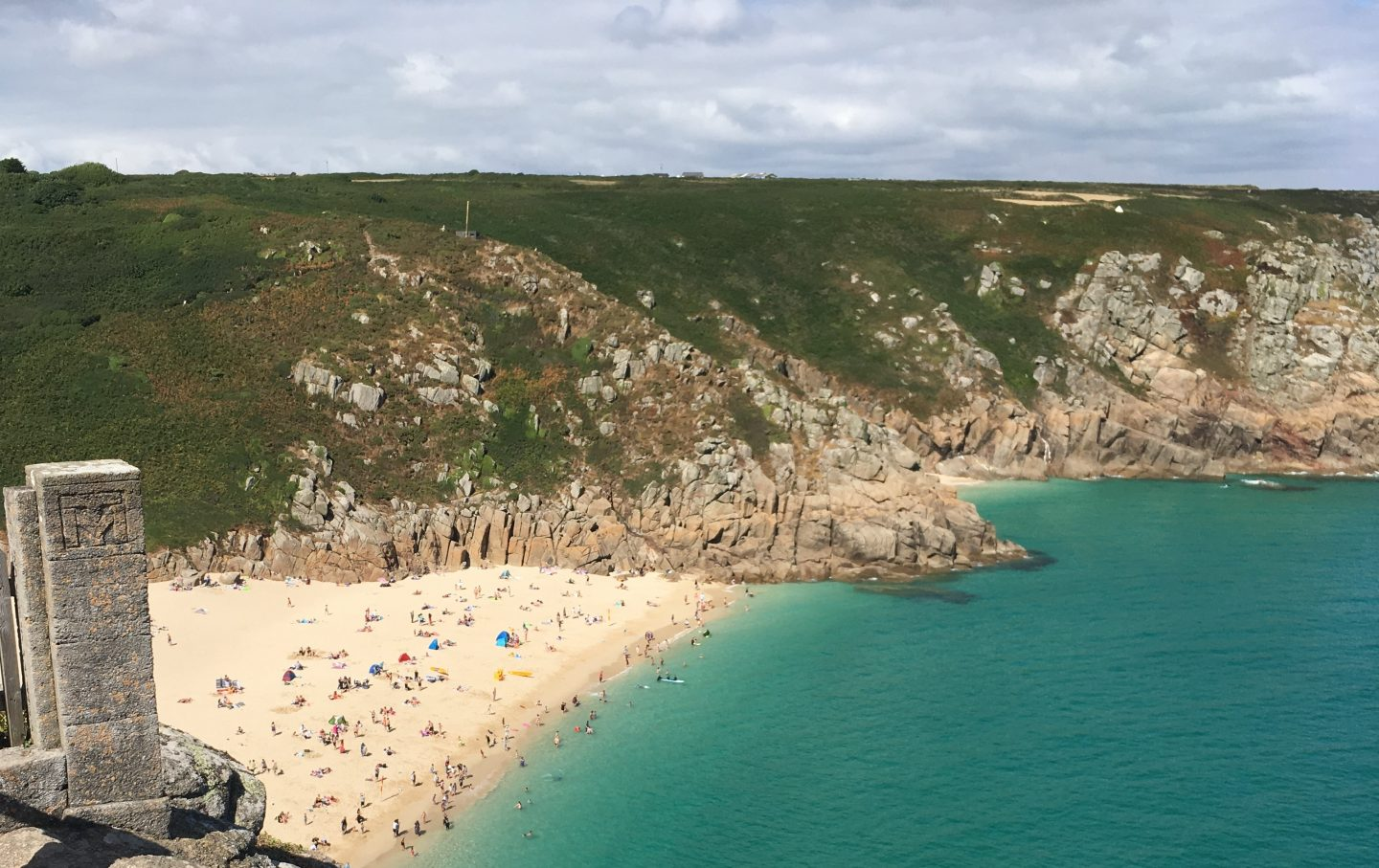 The view of Porthcurno and the Atlantic Ocean from the Minack Theatre