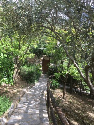Pathways through the gardens of Eleonas Country Village in Crete