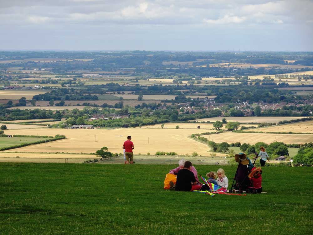 Picnic on Dunstable Downs with countryside views