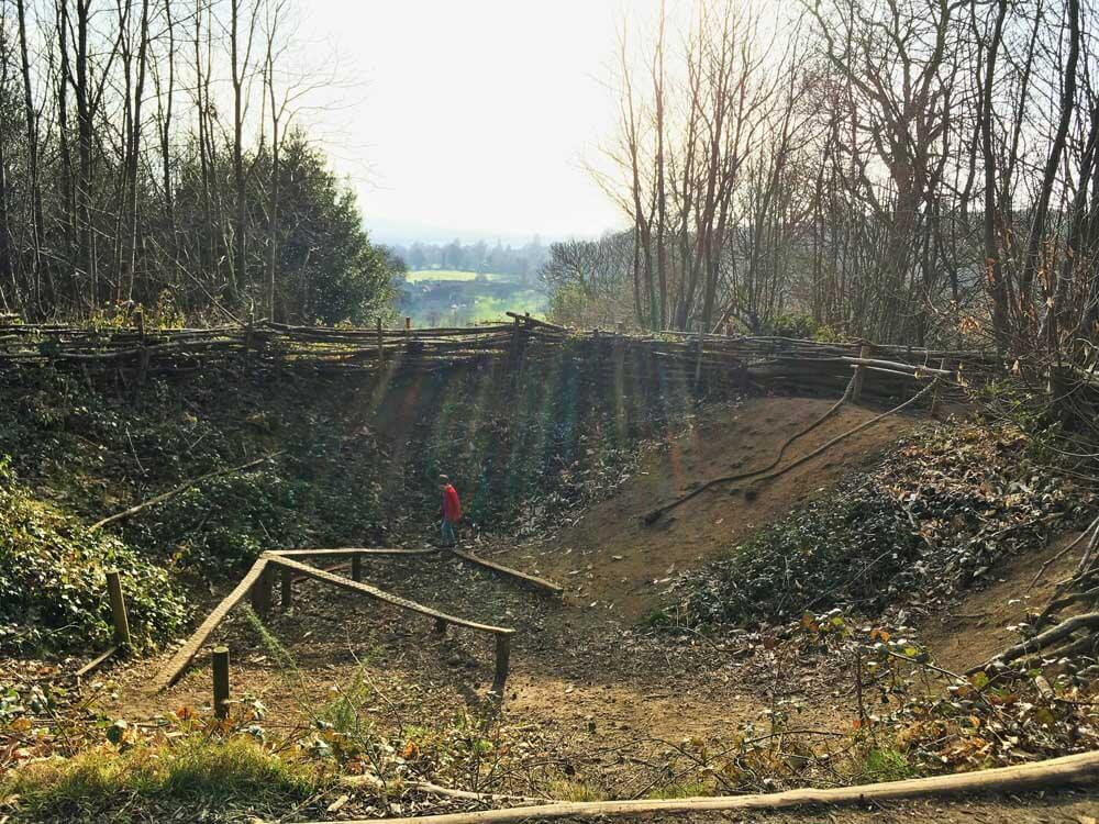 The bomb crater at Chartwell National Trust near M25