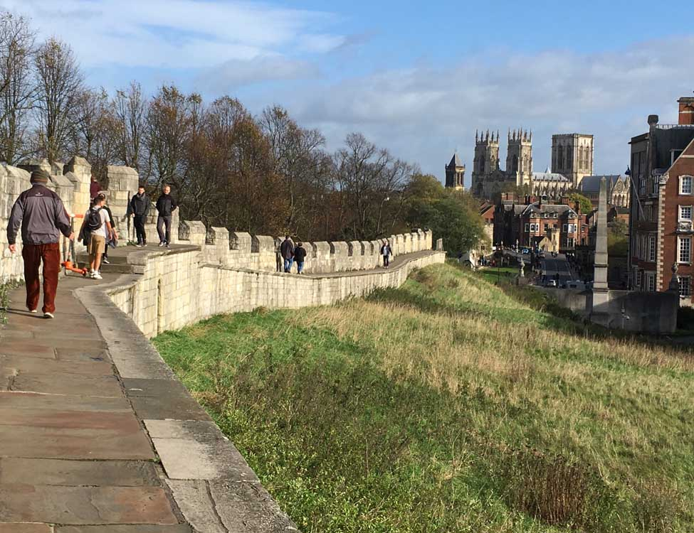 City walls of York, York city break with kids