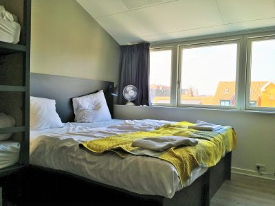 Twin beds in the family room at Generator Hostel Copenhagen Denmark with kids