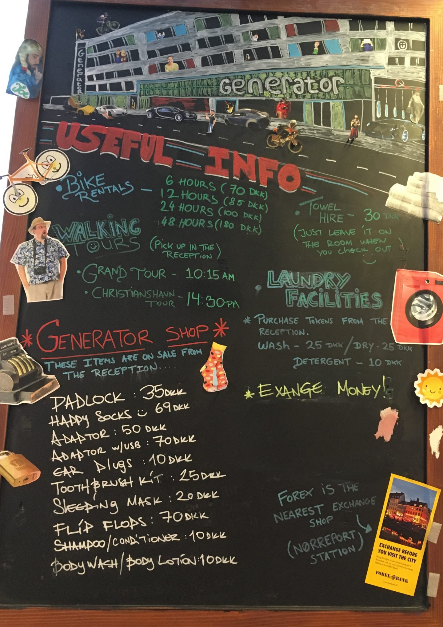 Youth hostel information board