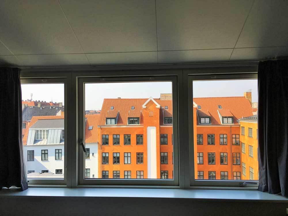 View of rooftops from the Generator Hostel Copenhagen