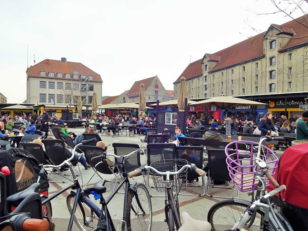 Bikes parked in front of Bridge Street Kitchen, great place to eat in Copenhagen with kids