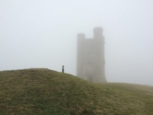 Broadway Tower in fog Cotswolds