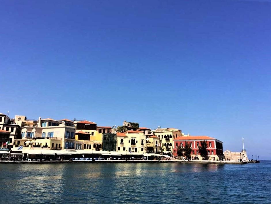 Chania harbour in crete