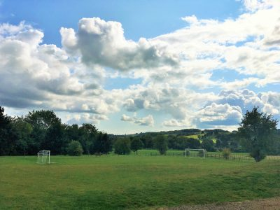 Football pitch at Broadway playground Cotswolds