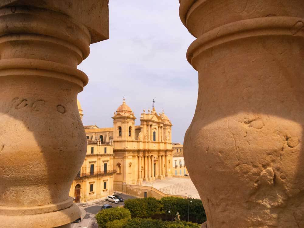 the view of Noto Cathedral from the Chiesa di San Carlo, Noto, Sicily