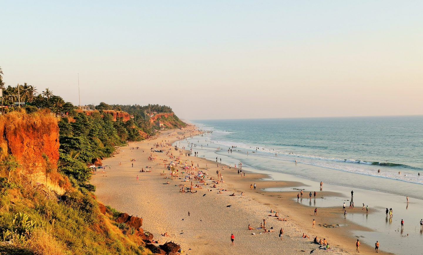 Cliff-backed beach of Varkala, Kerala India