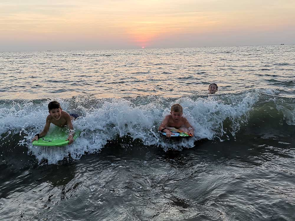 Bodyboarding at Patnem Beach, Goa with kids