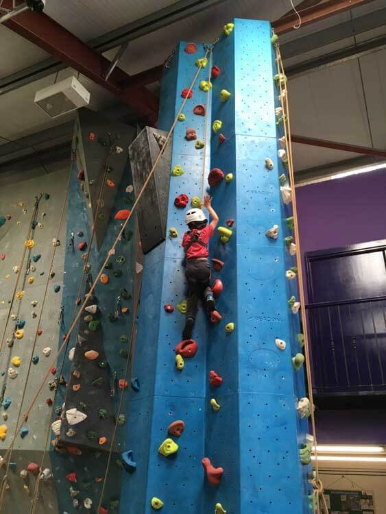 Indoor climbing wall at Far Peak