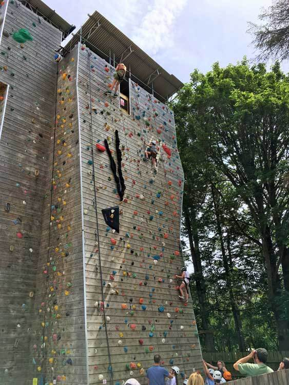 Outdoor climbing wall at Far Peak