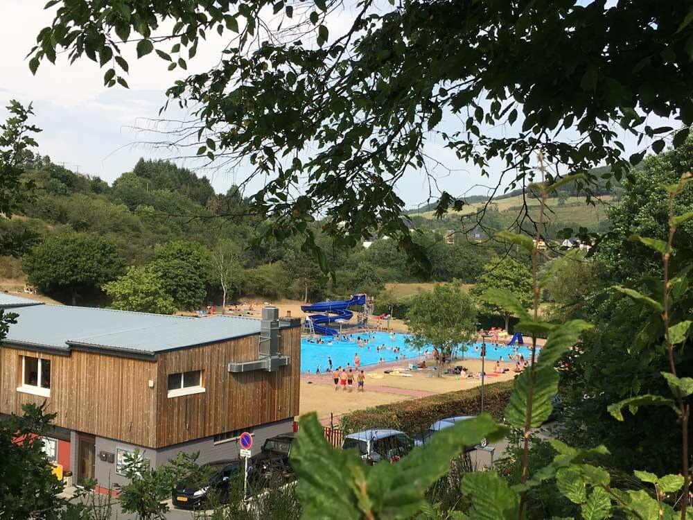The swimming pool next to campsite in luxembourg