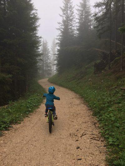 Cycling towards Lake Karersee, Lago di Carezza, Dolomites, Italy