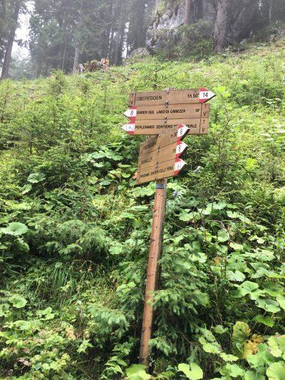 Signposts for Lake Kerersee, Lago di Carezza, Obereggen