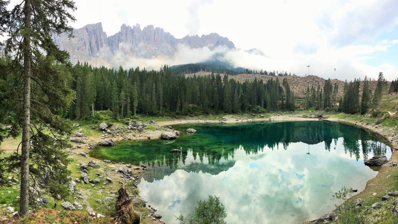 Lake Karersee, Lago di Carezza, Obereggen, Val d'Ega, Eggental, Italy